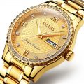 Gold Diamond Luminous Dial Steel Bracelet Wristwatch With Calender